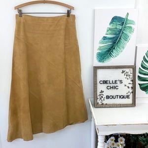 Banana Republic Tan Suede Asymmetrical Skirt Sz 8